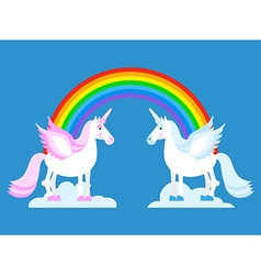 Unicorn and rainbow two cute fantasy creatures in vector