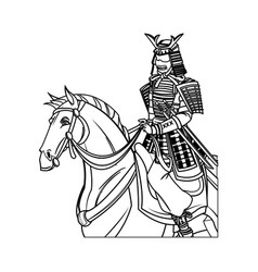 Warrior samurai with armor traditional riding vector