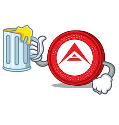 With juice ark coin mascot cartoon vector