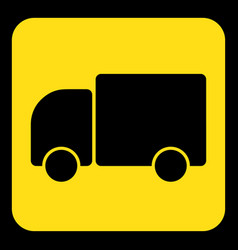 Yellow black information sign - lorry car icon vector