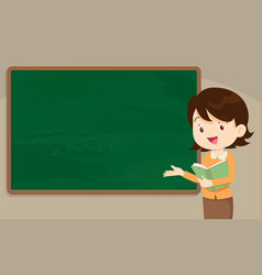 young woman teacher in front of chalkboard vector image