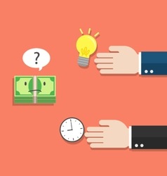 Money thinking of choosing idea or time vector