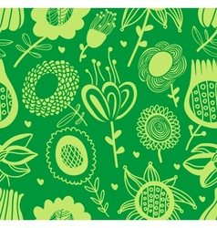Green floral seamless pattern vector