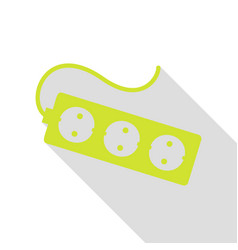 Electric extension plug sign pear icon with flat vector