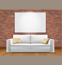 White sofa red brick wal vector
