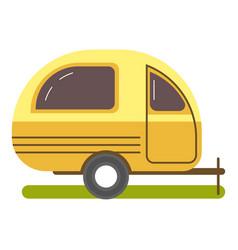 Travel trailer caravanning in yellow color vector