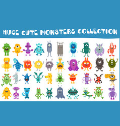Cute monsters collection set vector