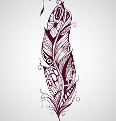 Highly detailed hand drawn tattoo feather vector
