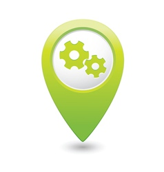 Gear icon green map pointer vector