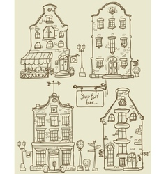 Set of hand drawn houses vector