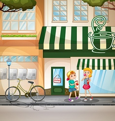 Children and shops vector
