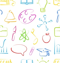 Seamless wallpaper with colorful set school vector