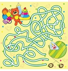 Maze for kids - help the baby to get toys vector