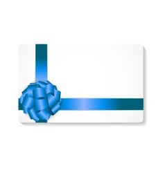 Gift card with blue bow and ribbon vector