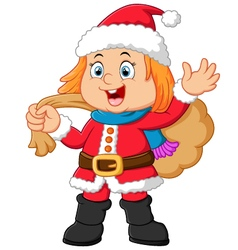 Little girl wearing santa clothes vector
