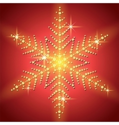 Christmas snowflake on a red background vector