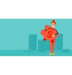 Woman carrying piggy bank vector