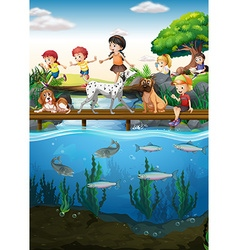 Boys and girls crossing the river vector image