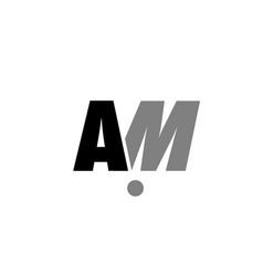 Am a m black white grey alphabet letter logo icon vector