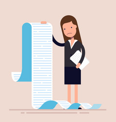 businesswoman or manager hold a long list or vector image vector image