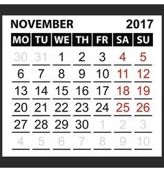 Calendar sheet november 2017 vector