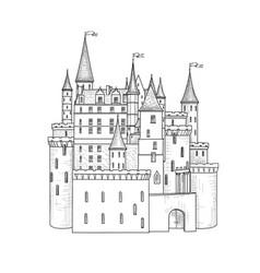 Castle landmark sketch medieval palace building vector