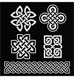 Celtic Irish patterns and braids on black vector image