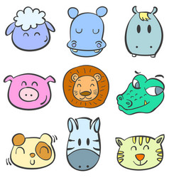 Collection animal head colorful doodles vector