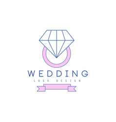 Cute line logo design with ring with diamond vector