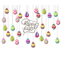 Easter eggs hanging on the wire background vector