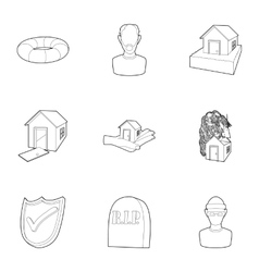 Emergency icons set outline style vector
