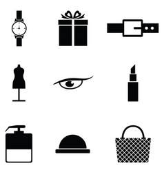 fashion icon set vector image vector image