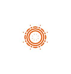 Flower linear logo orange line art sun vector