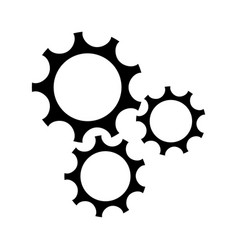gear teamwork wheel mechanism power silhouette vector image