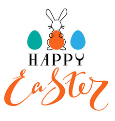 happy easter text greeting card rabbit silhouette vector image