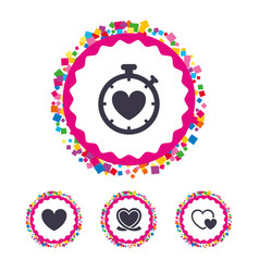 heart ribbon icon timer stopwatch symbol vector image