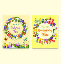Hello spring flower frame for greeting card design vector