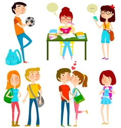 high school kids vector image vector image