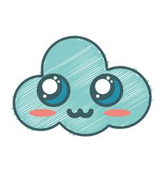 Kawaii cute tender cloud weather vector