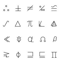 Mathematics icons 7 vector