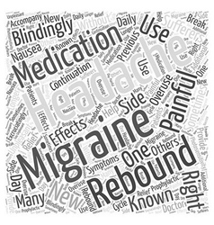 Migraines and rebound headaches word cloud concept vector