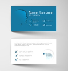 Modern blue business card template with flat user vector image vector image