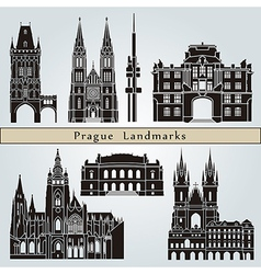 Prague landmarks and monuments vector image