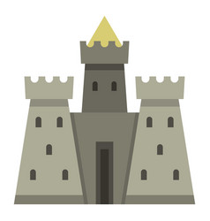 Residential mansion with towers icon isolated vector