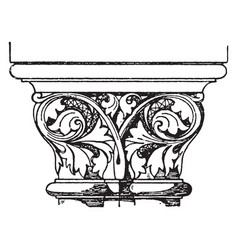 Romanesque coupled capital looks like two vector
