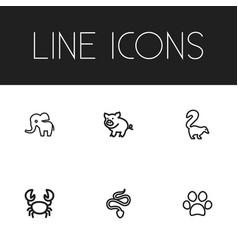 Set of 6 editable zoo outline icons includes vector