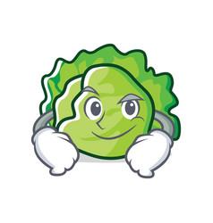 Smirking lettuce character cartoon style vector