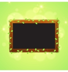 Spring blackboard with green leaves vector image vector image