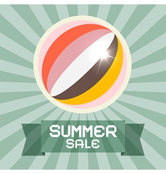 Summer sale retro title with ball vector