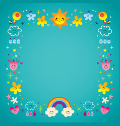 Sun clouds rainbow birds nature frame border vector